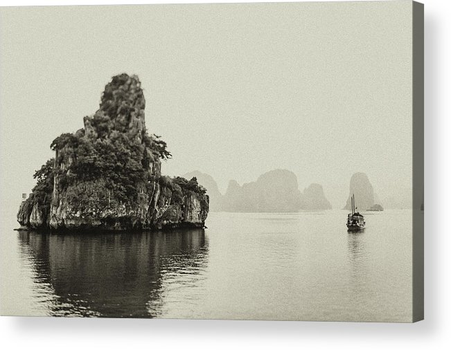 Scenics Acrylic Print featuring the photograph Ha Long Bay Island And Boat by © Francois Marclay