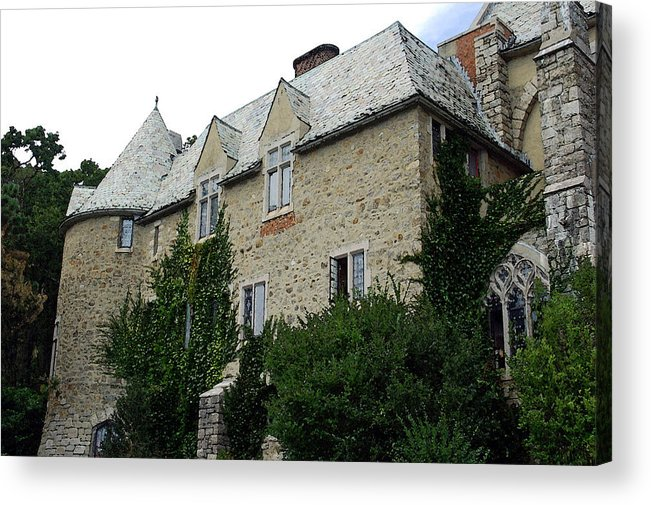 Hammond Castle Acrylic Print featuring the photograph Hammond Castle - Watercolor by Suzanne Gaff