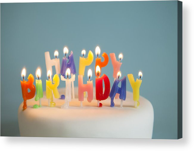 Melting Acrylic Print Featuring The Photograph Happy Birthday Candles On A Cake By JamieB