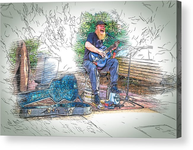 Buskers Acrylic Print featuring the digital art Happy The Busker by John Haldane