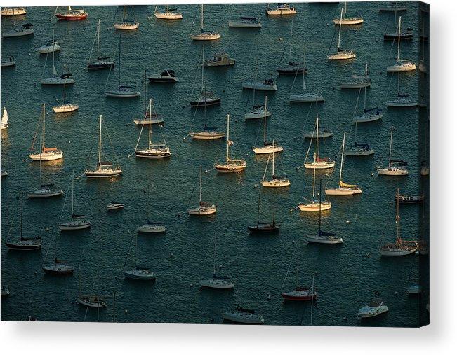 Harbor Acrylic Print featuring the photograph Harbor Sunset Chicago by Steve Gadomski