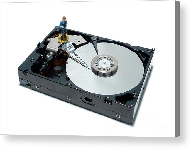 Computer Acrylic Print featuring the photograph Hard Drive Backup by Olivier Le Queinec