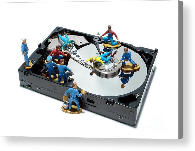 Computer Acrylic Print featuring the photograph Hard Drive Maintenance by Olivier Le Queinec