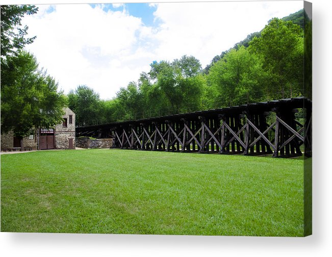 Harpers Acrylic Print featuring the photograph Harpers Ferry Hardware And Railroad by Bill Cannon