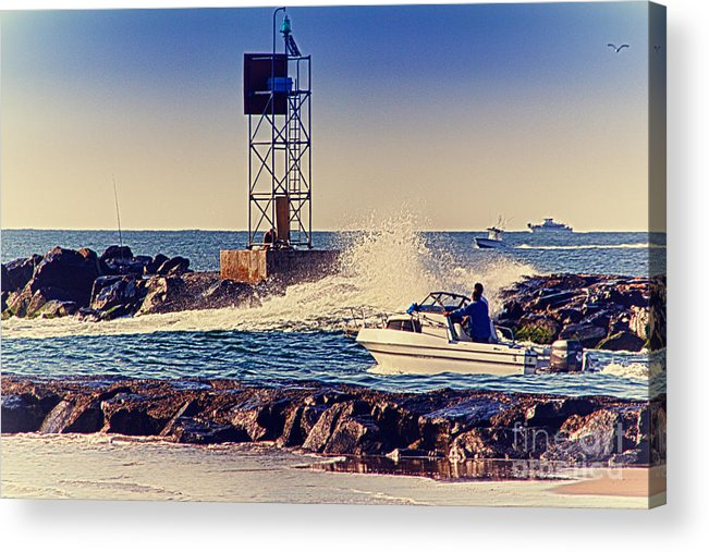 Hdr Acrylic Print featuring the photograph Hdr Boat Boats Fishing Ocean Beach Scenic Landscape Photos Pictures Photography Bay Buy Sell Photo by Al Nolan