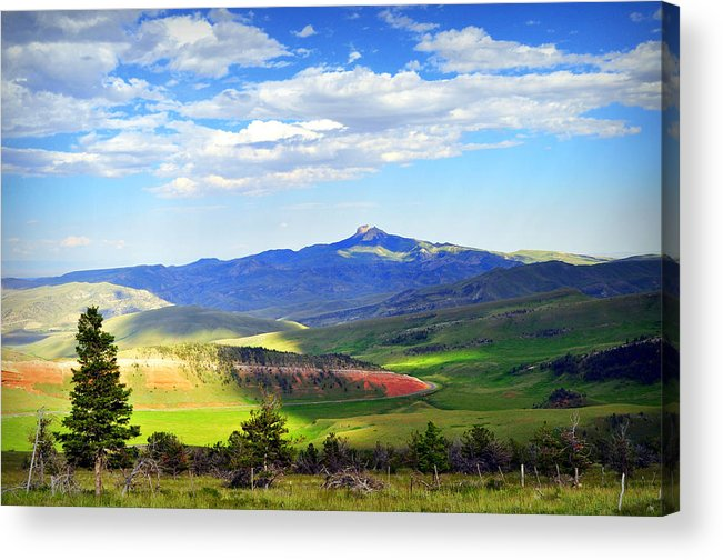 Chief Joseph Highway Acrylic Print featuring the photograph Heart Mtn And Chief Joseph Hwy by Lisa Holland-Gillem
