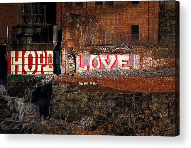 Urban Acrylic Print featuring the photograph Hope Love Lovelife by Bob Orsillo
