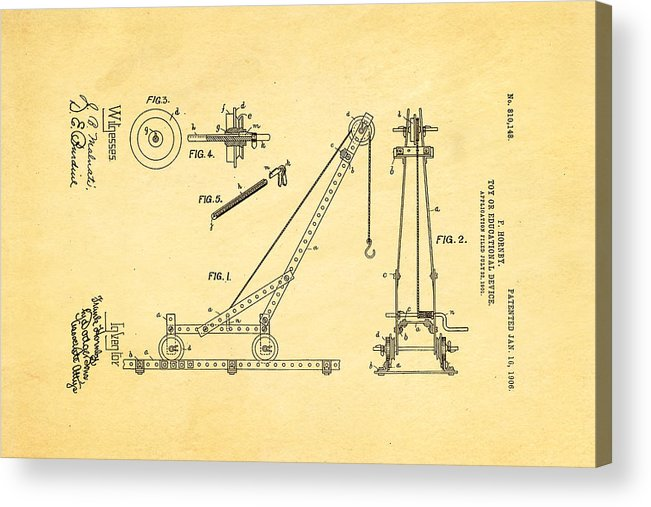 Construction Acrylic Print featuring the photograph Hornby Meccano Patent Art 1906 by Ian Monk