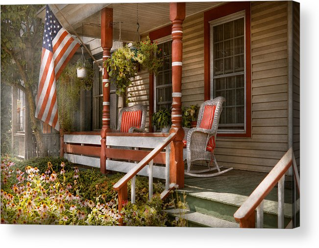 Porch Acrylic Print featuring the photograph House - Porch - Traditional American by Mike Savad