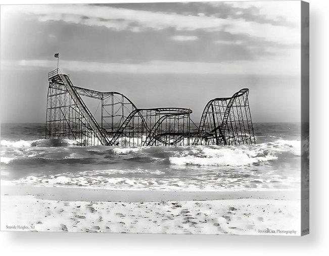 Hurricane Sandy Photographs Acrylic Print featuring the photograph Hurricane Sandy Jetstar Roller Coaster Black And White by Jessica Cirz