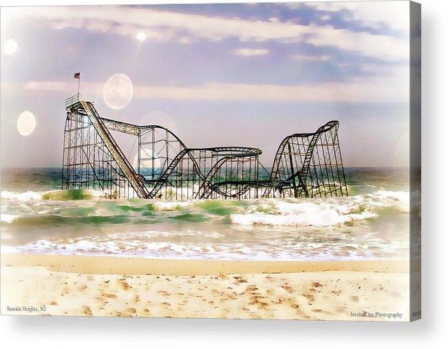 : Hurricane Sandy Photographs Acrylic Print featuring the photograph Hurricane Sandy Jetstar Roller Coaster Sun Glare by Jessica Cirz