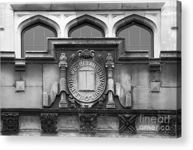 Bloomington Acrylic Print featuring the photograph Illinois Wesleyan University Seal by University Icons