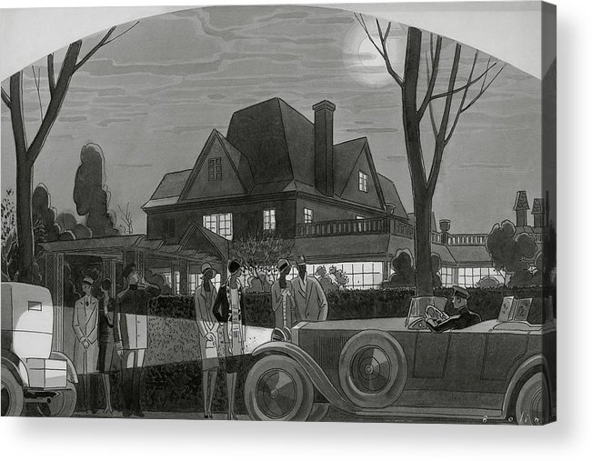 Illustration Acrylic Print featuring the digital art Illustration Of Men And Women Outside Of A Large by William Bolin