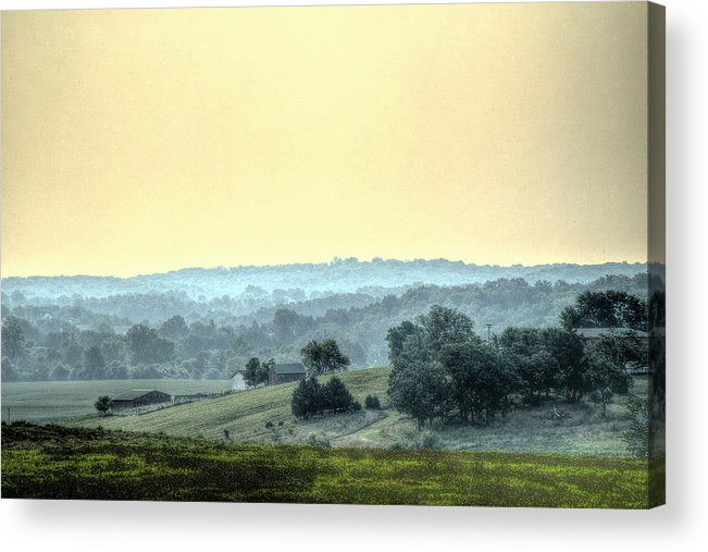 In A Misty Hollow Acrylic Print featuring the photograph In A Misty Hollow by William Fields