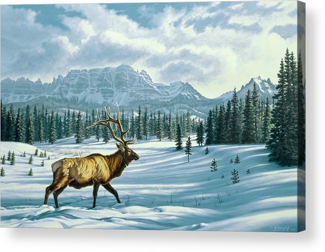 Landscape Acrylic Print featuring the painting In The Absarokas - Elk by Paul Krapf