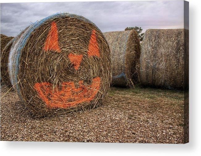 Halloween Acrylic Print featuring the photograph Jack-o-lantern Hayroll by Jason Politte
