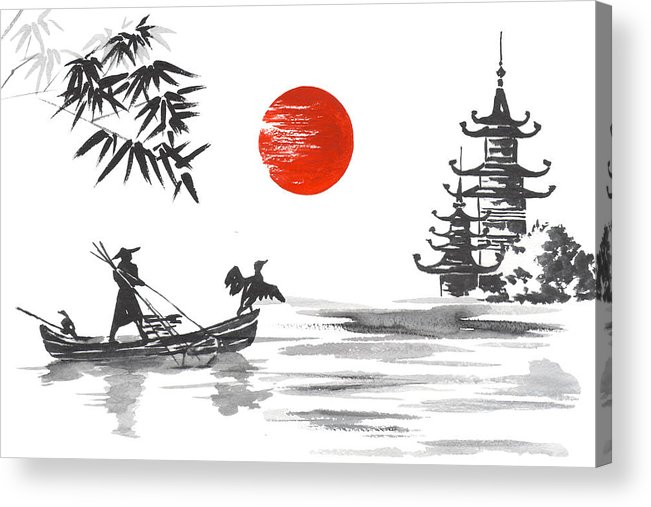 Japan Traditional Japanese Painting Sumi-e Art Japan Traditional Japanese  Painting Sumi-e Art Man With Boat Acrylic Print