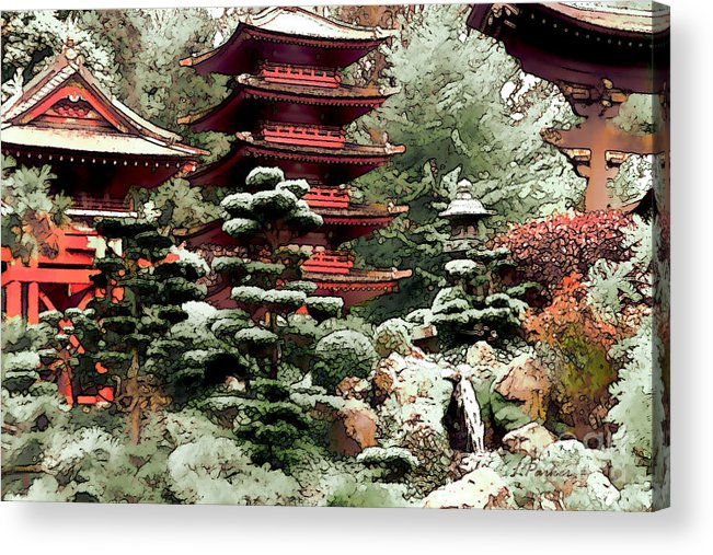 Impressionism Acrylic Print featuring the photograph Japanese Tea Garden by Linda Parker