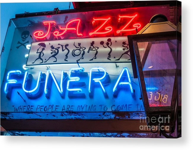Sign Acrylic Print featuring the photograph Jazz Funeral And Lamp Nola by Kathleen K Parker