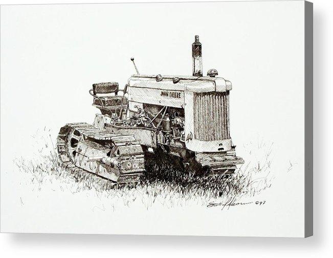 Tractor Acrylic Print featuring the drawing John Deere Crawler by Scott Alcorn