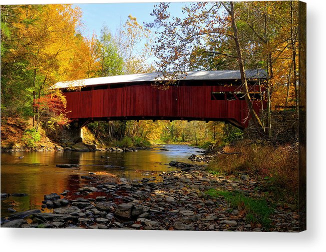 Covered Bridge Acrylic Print featuring the photograph Josiah Hess Covered Bridge by Dan Myers