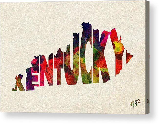 Kentucky Acrylic Print featuring the painting Kentucky Typographic Watercolor Map by Inspirowl Design