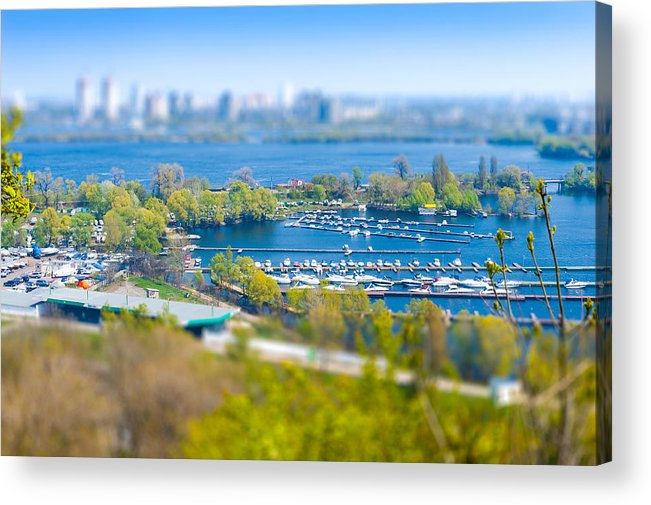 Dnieper Acrylic Print featuring the photograph Kiev's Marina by Alain De Maximy