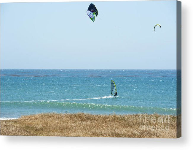 Point Lobos Acrylic Print featuring the photograph Kite Surfing And Wind Surfing Central Coast San Simeon California by Artist and Photographer Laura Wrede