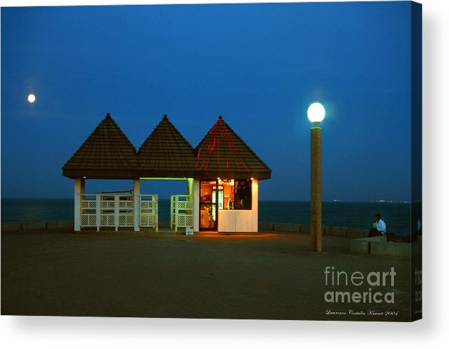 Pier Acrylic Print featuring the photograph Kuwaiti Pier Snack Bar At Dusk by Lawrence Costales