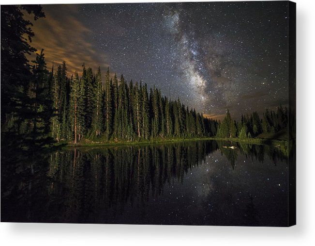 All Rights Reserved Acrylic Print featuring the photograph Lake Irene's Milky Way Mirror by Mike Berenson