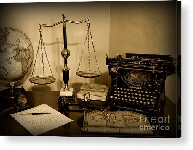 Paul Ward Acrylic Print featuring the photograph Lawyer - The Lawyer's Desk In Black And White by Paul Ward