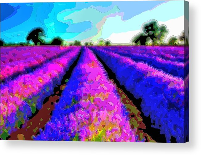 Layer-art Acrylic Print featuring the digital art Layer Landscape Art Lavender Field by Mary Clanahan