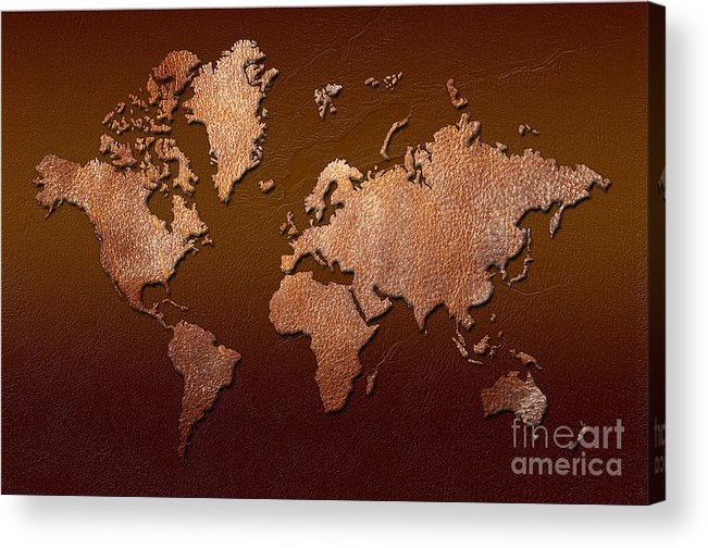 world Map Acrylic Print featuring the digital art Leather World Map by Zaira Dzhaubaeva