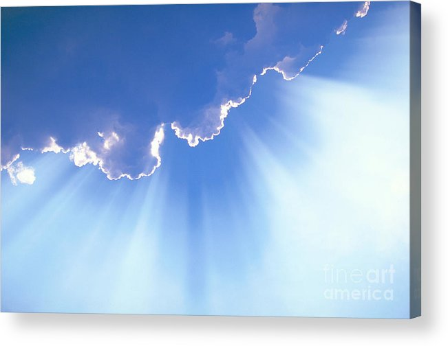 Light Rays Acrylic Print featuring the photograph Light Beams From Cloud by David N Davis
