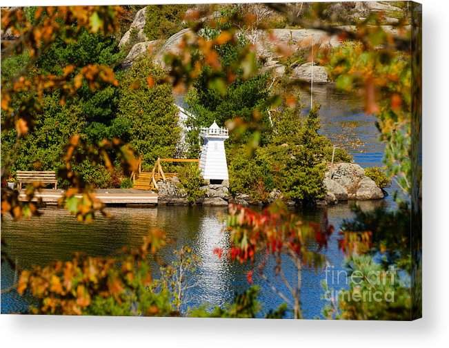 Lake Acrylic Print featuring the photograph Lighthouse Through The Leaves by Les Palenik