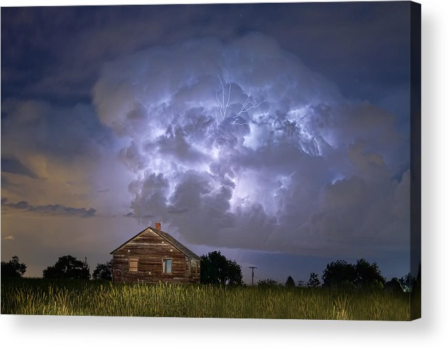 Sky Acrylic Print featuring the photograph Lightning Thunderstorm Busting Out by James BO Insogna
