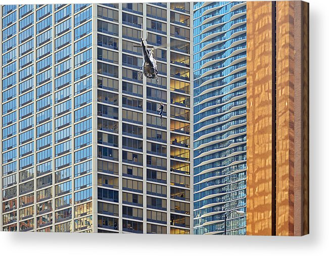 Il Acrylic Print featuring the photograph Lights - Camera - Action - Movie Backdrop Chicago by Christine Till
