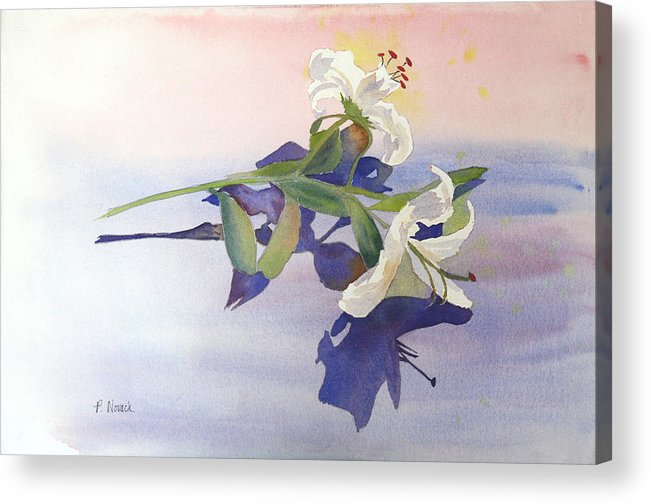 Lily Acrylic Print featuring the painting Lilies At Rest by Patricia Novack