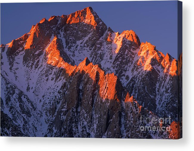 Alabama Hills Acrylic Print featuring the photograph Lone Pine Peak - February by Inge Johnsson
