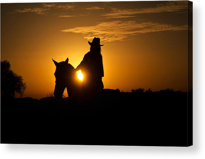 Horse Acrylic Print featuring the photograph Lonesome Cowgirl by Thomas Schlueter