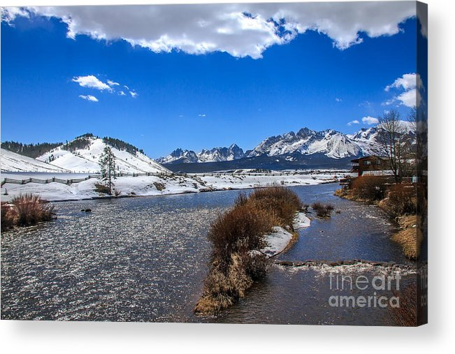 Rocky Mountains Acrylic Print featuring the photograph Looking Up The Salmon River by Robert Bales