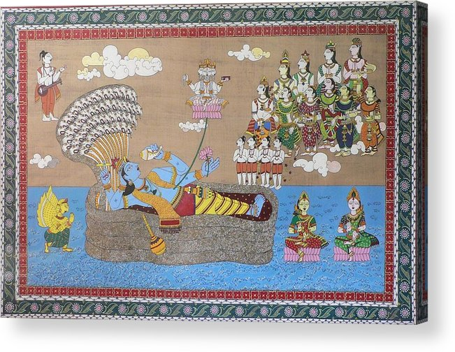 Mythology Acrylic Print featuring the painting Lord Vishnu In Ananta Sayan Posture by Prasida Yerra