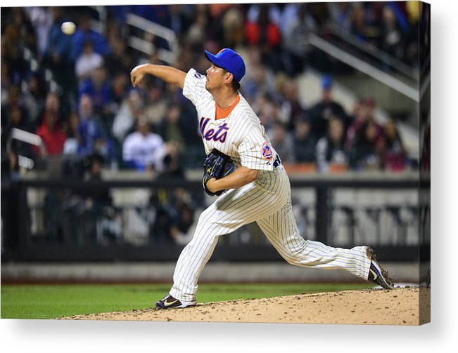 American League Baseball Acrylic Print featuring the photograph Los Angeles Dodgers V New York Mets by Ron Antonelli
