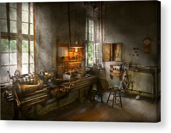 Self Acrylic Print featuring the photograph Machinist - Lathes by Mike Savad