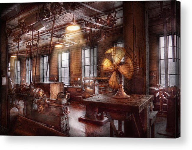 Machinists Acrylic Print featuring the photograph Machinist - The Fan Club by Mike Savad