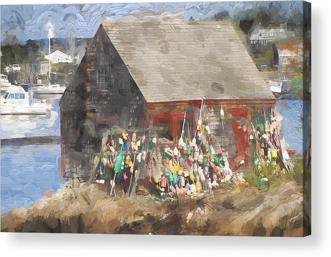 Lobster Shack Acrylic Print featuring the photograph Mackerel Cove Maine Painterly Effect by Carol Leigh