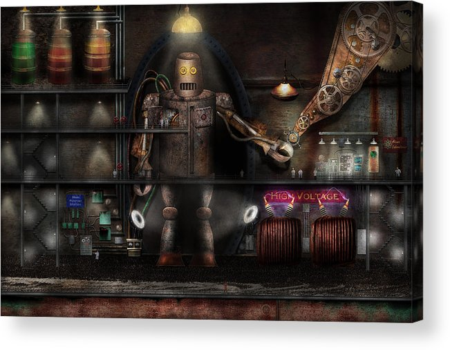 Robot Acrylic Print featuring the photograph Mad Scientist - The Enforcer by Mike Savad