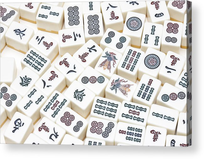 photograph about Mahjong Card Printable known as Mahjong Tiles Acrylic Print