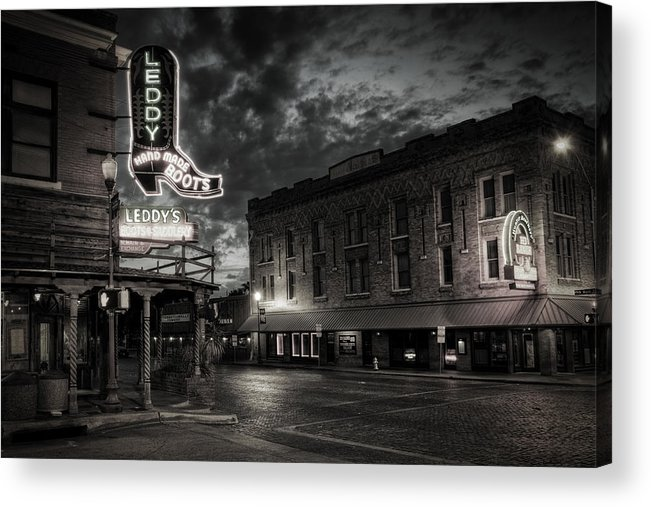 Joan Carroll Acrylic Print featuring the photograph Main And Exchange Bw by Joan Carroll