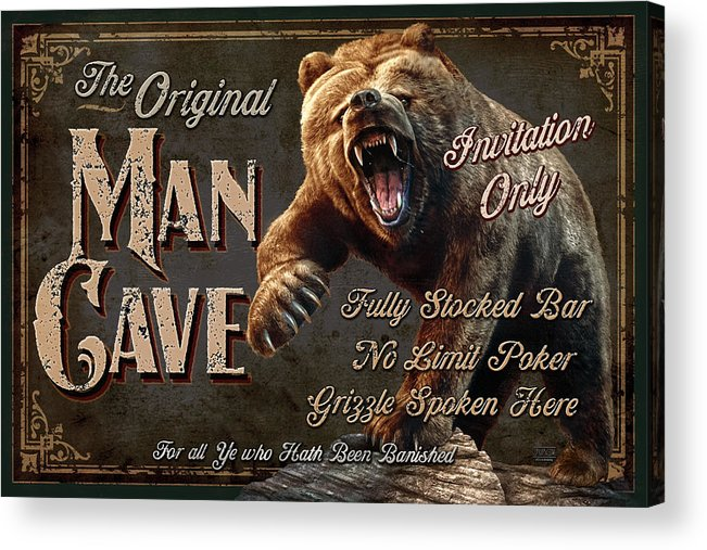 Jeff Wack Acrylic Print featuring the painting Man Cave Grizzly by JQ Licensing